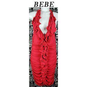 bebe Red Bodycon Halter Ruffle Dress Size Medium
